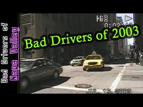 Bad Drivers of 2003 to 2006 - Old Video - San Francisco, Seattle, Phoenix and Vancouver