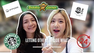 กินอาหารตามคนข้างหน้า | LETTING THE PERSON IN FRONT OF US DECIDE WHAT WE EAT FOR 24 HRS | ENG SUB