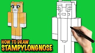 How to draw Stampylongnose Minecraft - Easy step-by-step drawing lessons for kids