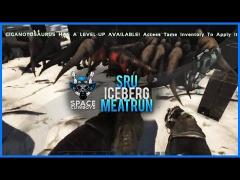 ARK PS4 PVP - Huge Meatrun on SRU iceberg - SPACE COWBOYS