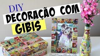 Caixa de MDF, Porta retrato e Garrafa decorados com Gibi / Revista em Quadrinhos