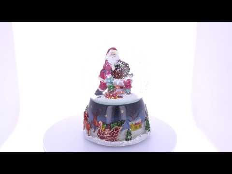 Elves Helping Santa Delivering Gifts Music Snow Globe