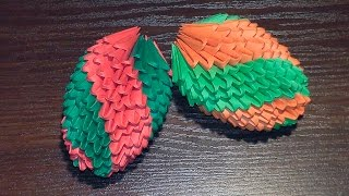 How to make a paper Easter egg (fir-cone). 3D origami tutorial