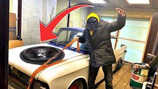Поставили крутой звук на москвич из гаража миллионера