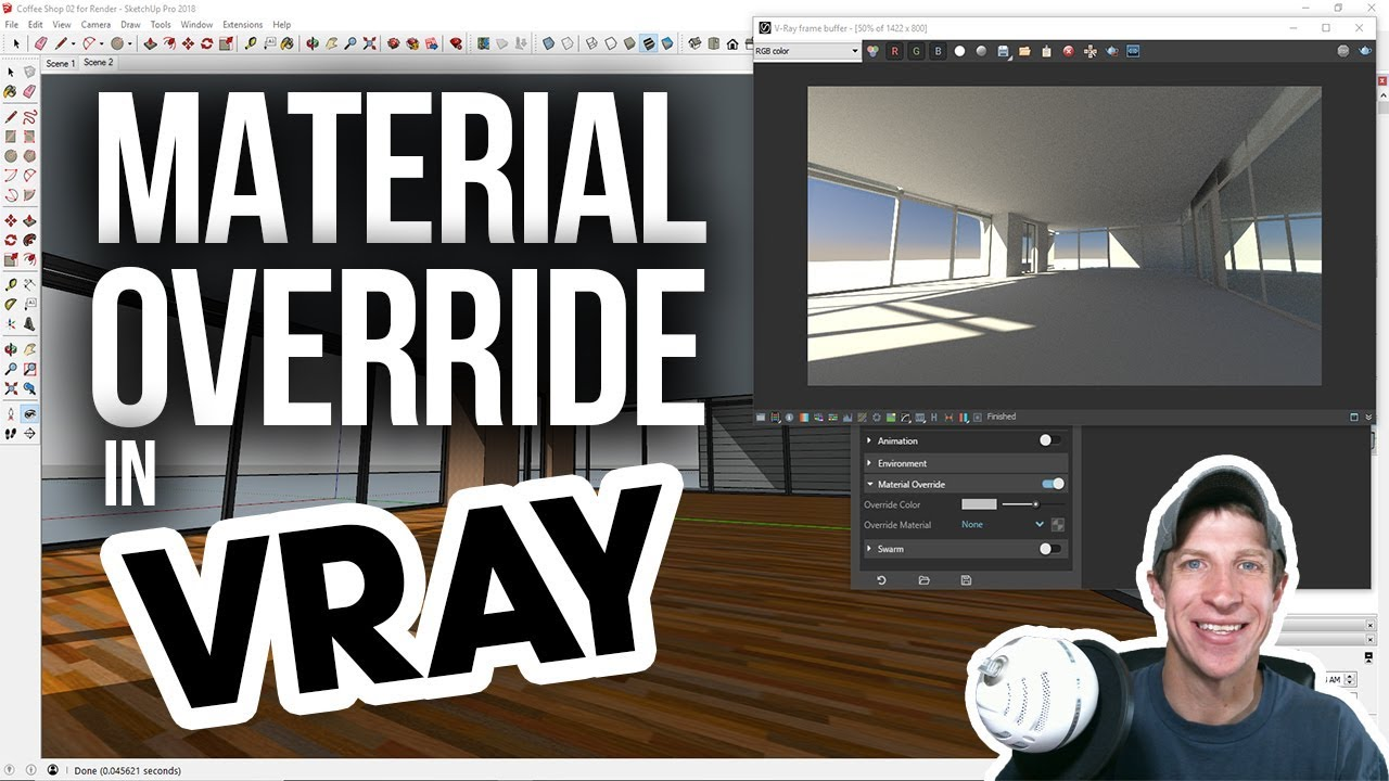 Preview Lighting In Vray With Material Override Vray For Sketchup Youtube