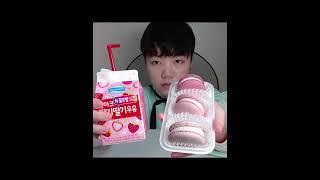 CU편의점 쫀득한 마카롱 딸기&딸기우유 (Sho…