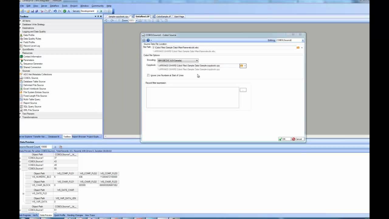Using COBOL data source in Centerprise Data Integrator - YouTube