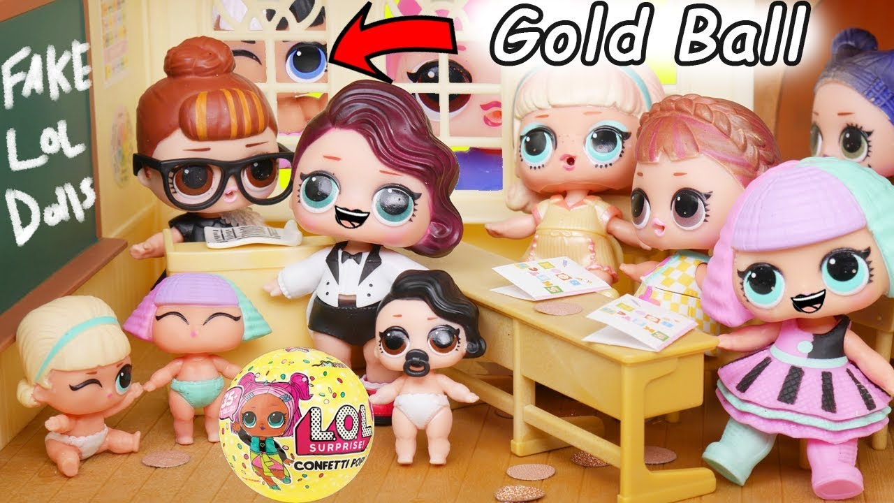 Lol Surprise Dolls Lil Sisters In Fake Toy School Gold