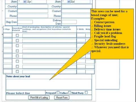 Free Online Bill of Lading Shipping Form YouTube – Bill of Lading Form Free