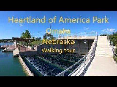 Walk Tour 4K, Heartland of America Park, Omaha, Nebraska, USA