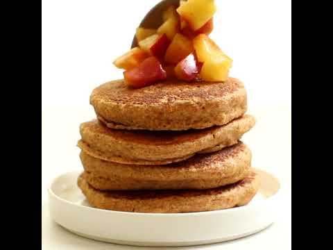 Healthy Fluffy Apple Pie Pancakes (Vegan, Gluten Free, Sugar Free)