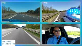 Police running code 3 on German Autobahn | 4 perspectives | POV GoPro
