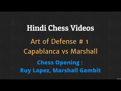 Art of Defense in Chess # 1  Capablanca vs Marshall, New York 1918 | Original Marshall Attack Chess