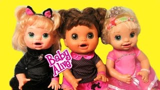 BABY ALIVE DOLLS get Halloween Costumes! My Life as clothes! Real Surprises+Learns to Potty Dolls