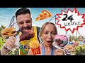 WE ONLY ATE THEME PARK FOOD FOR 24 HOURS CHALLENGE!