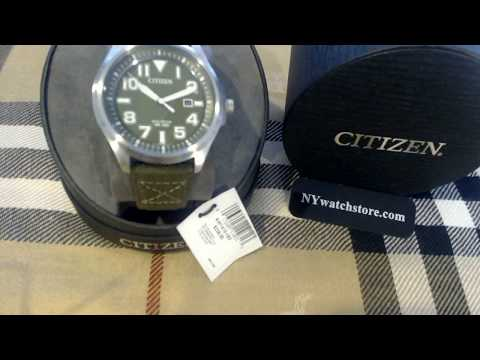 Men's Army Green Citizen Eco Drive Military Sport Watch AW1410 16X