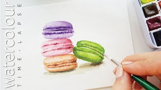 How to paint Macaron in Waterc…