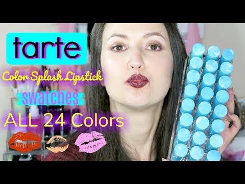 TARTE Color Splash Lipstick Swatches ALL 24 COLORS / Cruelty-free & Vegan