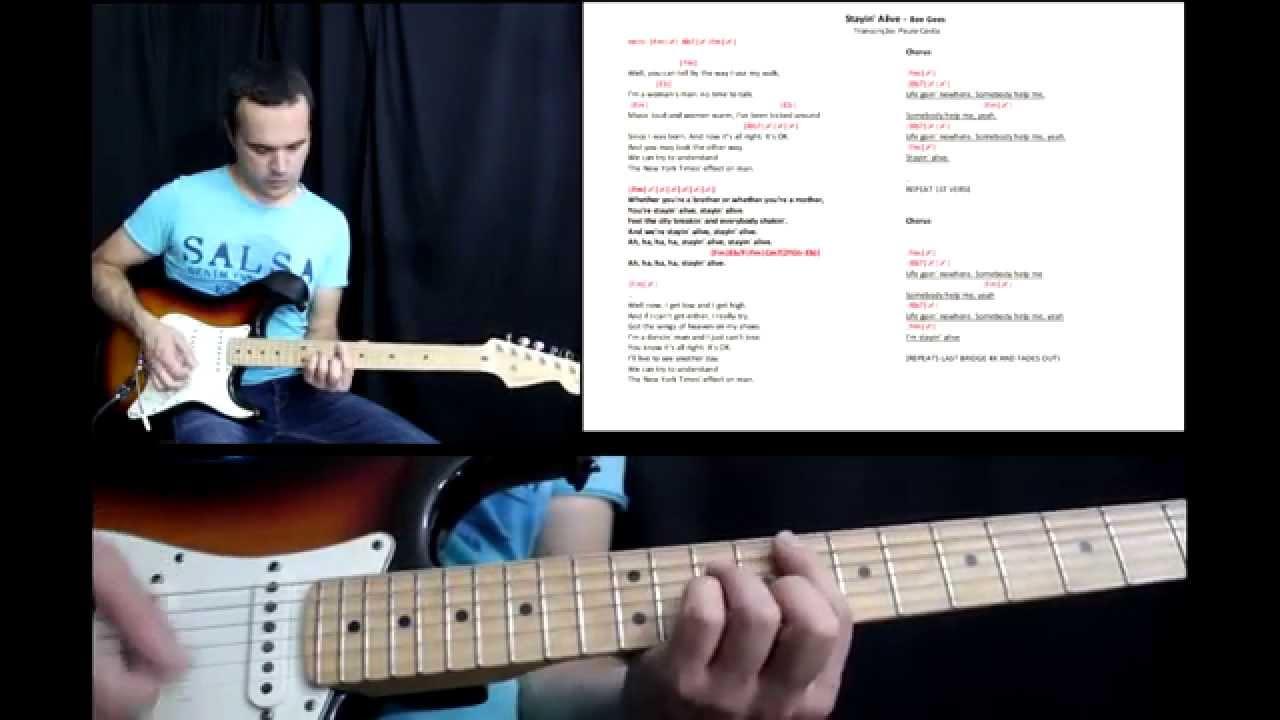 Stayin Alive Tutorial Guitarra E Baixo Guitar And Bass Lesson