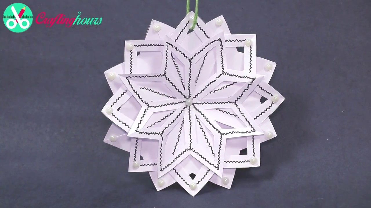 3d snowflake diy tutorial how to make 3d paper snowflakes for homemade decorations youtube