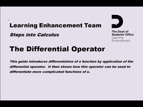 The Differential Operator webcast