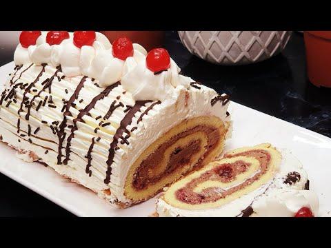 كيك-رولي-سويسرول-بملعقة-ناجح-من-أول-تجربة-بمقادير-مضبوطة-بالكريمة-لذيذة-ذوق-رااااائع/gâteau-roulé