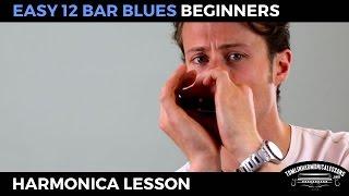 Easy 12 bar blues - Beginner Blues C Harmonica Lesson + free harp tab