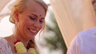Веселая свадьба Ани и Максима в пастельных лиловых тонах на Южном побережье штата Гоа