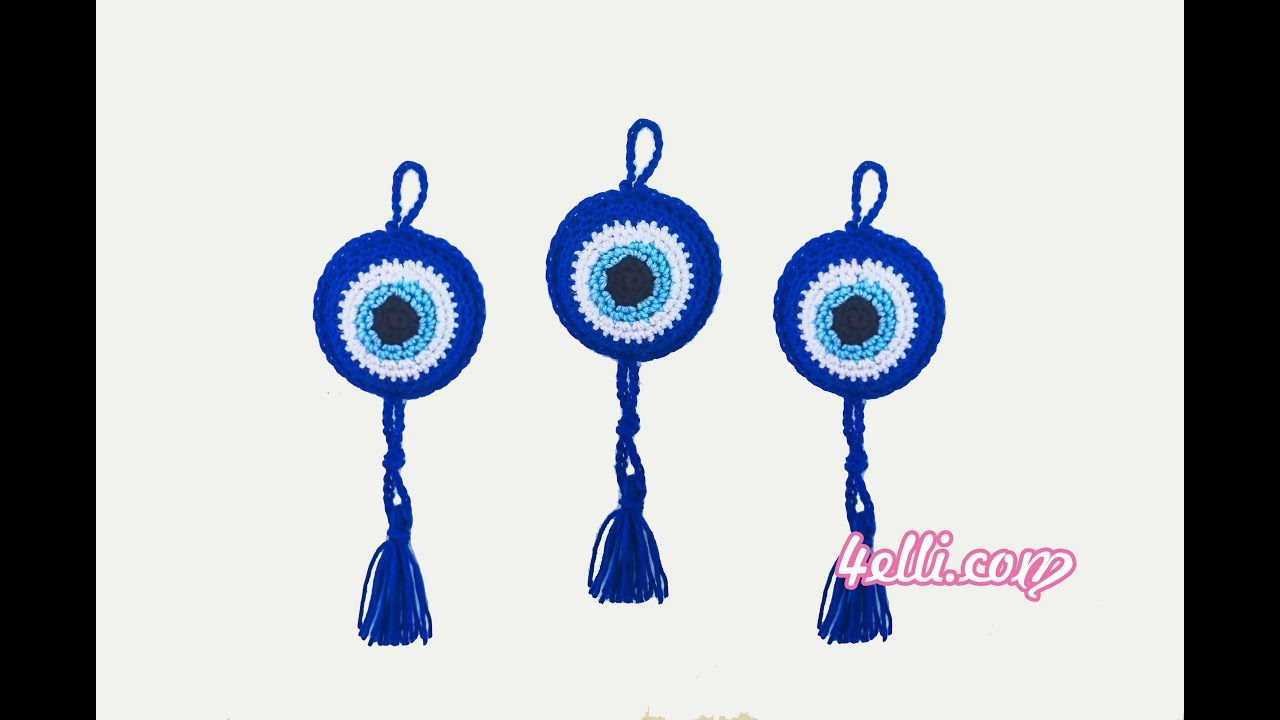 Crochet Evil Eye Charm Tutorial (ΕΝ)