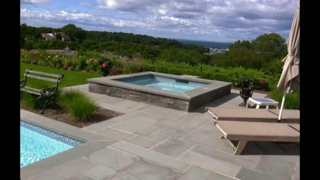 Pool Coping using Bluestone pavers - YouTube