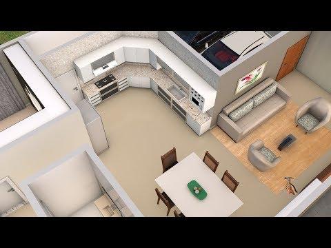 Planta 3D com três Quartos e Cozinha Americana