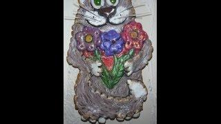Сувенир из соленого теста «Влюбленный кот». Подарок из соленого теста. Игрушки из соленого теста.