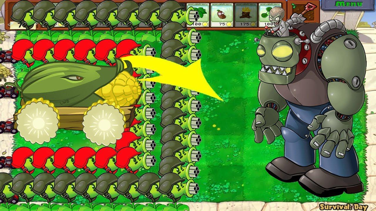 99 Gatling Pea Cob Cannon vs 999 Football Zombie - Plants vs Zombie