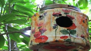 DIY Decoupage Plastic container to birdhouse