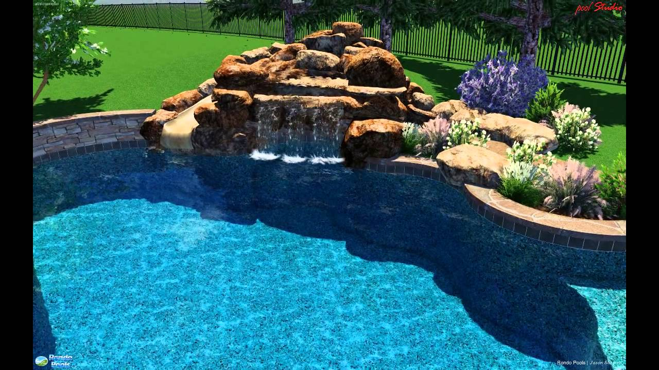 pool with grotto waterfall and open slide youtube