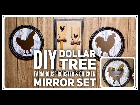 DIY Dollar Tree Chicken & Rooster Shaped Mirror Set Wall Decor - Farmhouse Rustic Room Decor