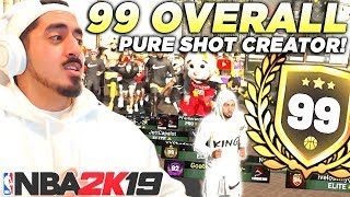 I GOT 99 OVERALL WITH A PURE SHOT CREATOR! LEGEND BADGE REWARD REACTION in NBA2K19!