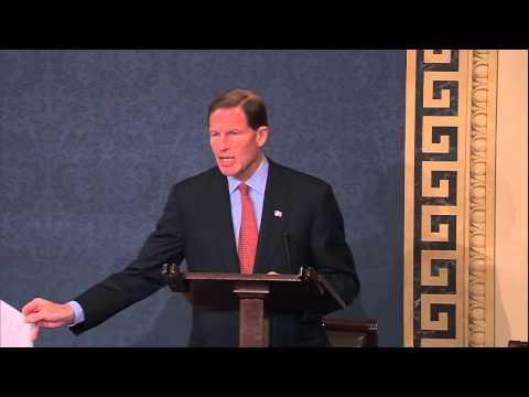 Sen. Richard Blumenthal speaks Wednesday on the Senate floor in support of the ENDA.