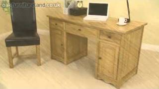 Cairo Solid Oak Compact Computer Desk From Oak Furniture Land