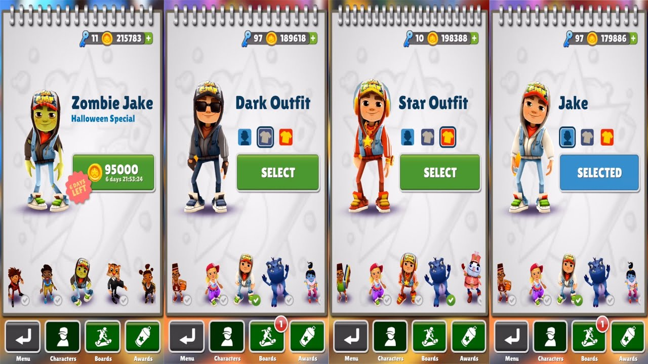 Subway Surfers Zombie Jake Vs Dark Vs Star Vs Outfit