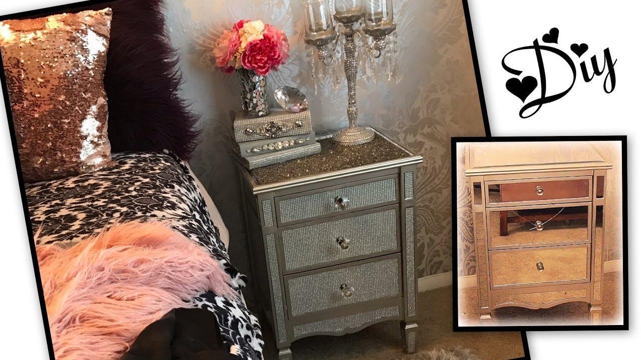 diy glam mirrored nightstand makeover