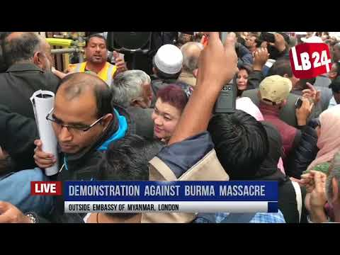 Demonstration Against Massacre Of Rohingya Muslims In Burma From Outside Embassy Of Myanmar, London.