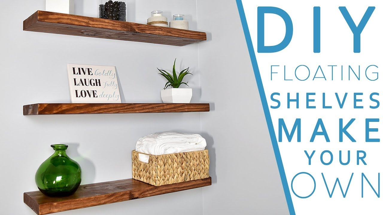 Easy diy floating shelves no bracket diy creators youtube for How to make wall shelves easy