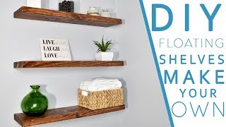 Floating shelves can enhance any area. For less than $10 you could make 3 all of these. The beauty of this is you can make them
