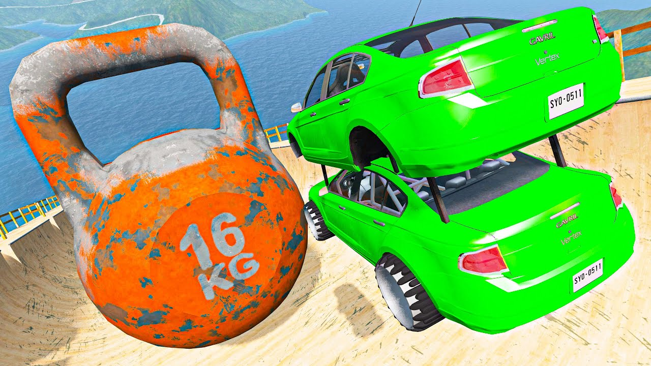BeamNG Drive Cars Crazy Jumps and Crashes Over Kettlebell - Random Vehicles Destruction Compilation