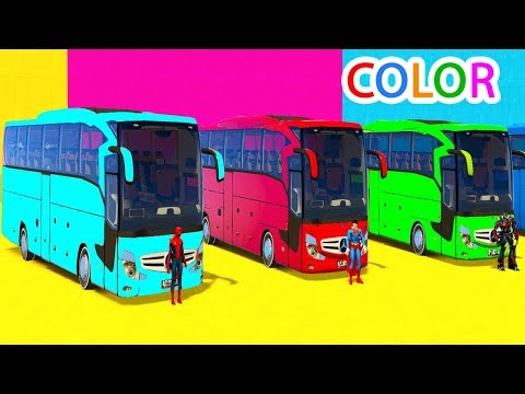 Thumbnail: Colors for Kids Big Bus with Fun Superheroes Cartoon For Toddlers Animation & Nursery Rhymes