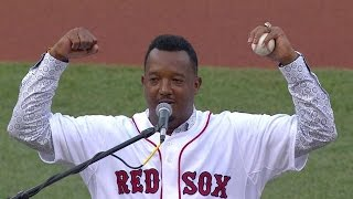 CWS@BOS: Pedro thanks Boston, teammates in speech
