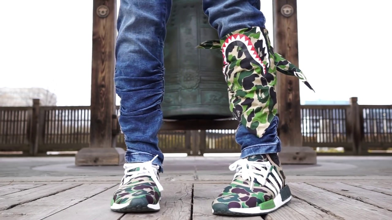 de666e18bbd67 IMPOSSIBLE ADIDAS COLLAB BAPE GREEN CAMO NMD ON FOOT REVIEW - YouTube