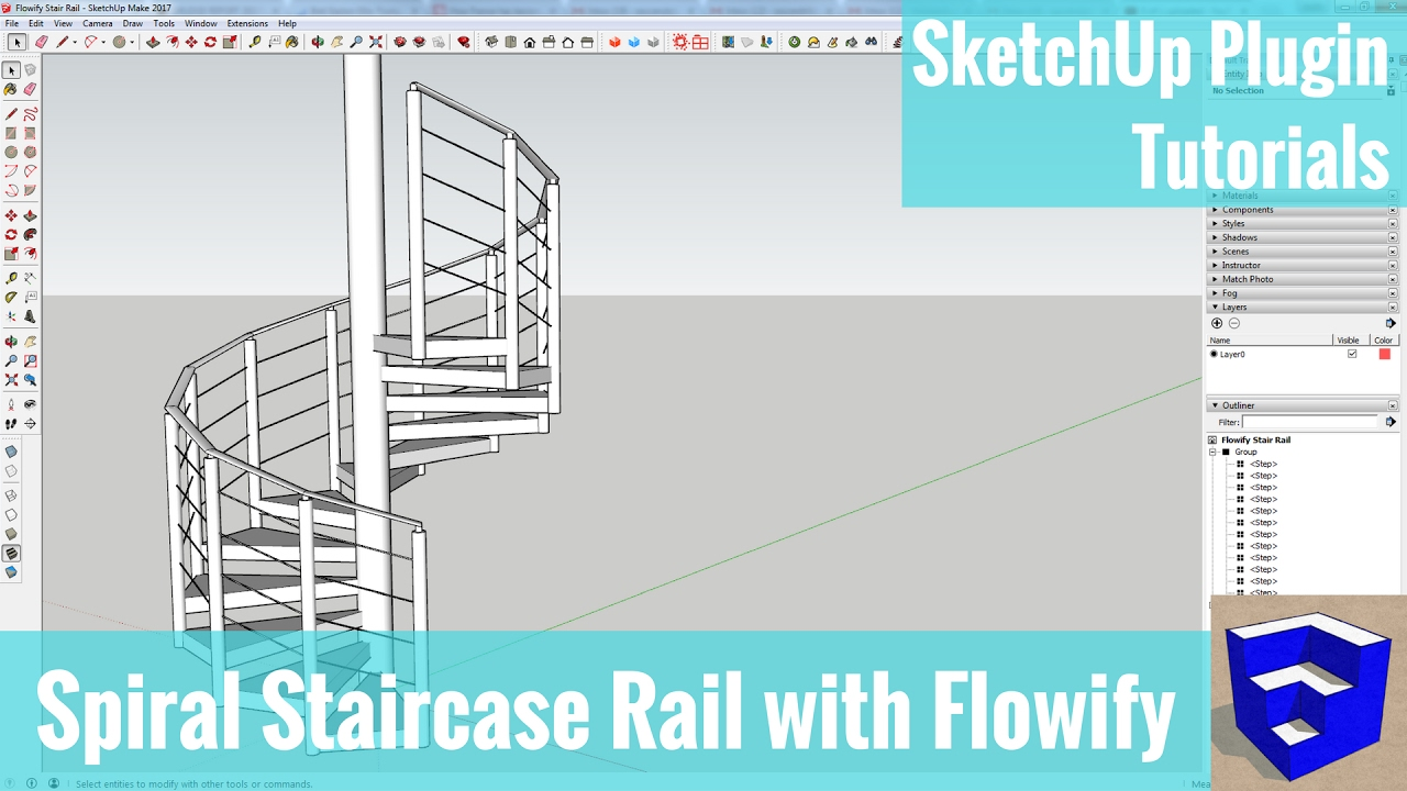 Creating a Spiral Staircase Rail with Flowify - SketchUp Extension Tutorials