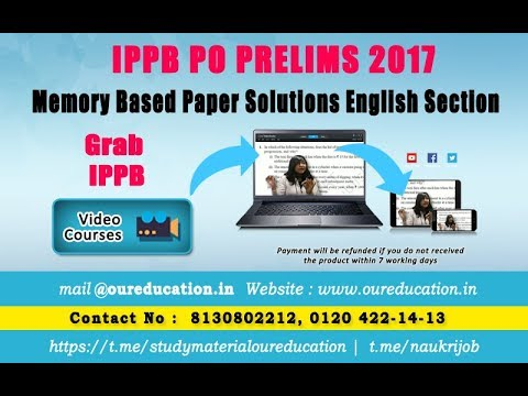 Previous paper solutions for IPPB PO PRELIMS 2017 by Neelakshi Mam- English section|Our Education|